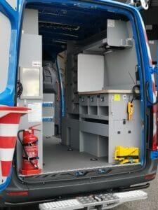 Aménagement droit Fourgon maintenance atelier